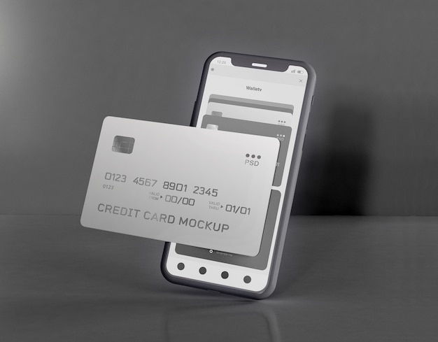 Smartphone and credit card mockup