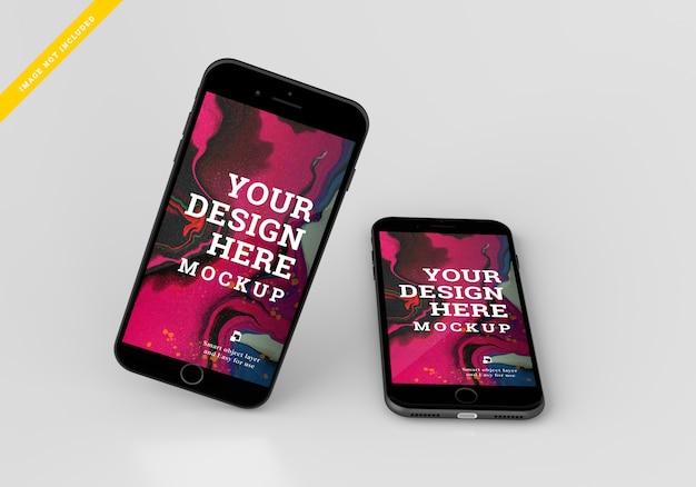Smartphone device mock up screen design. template psd.
