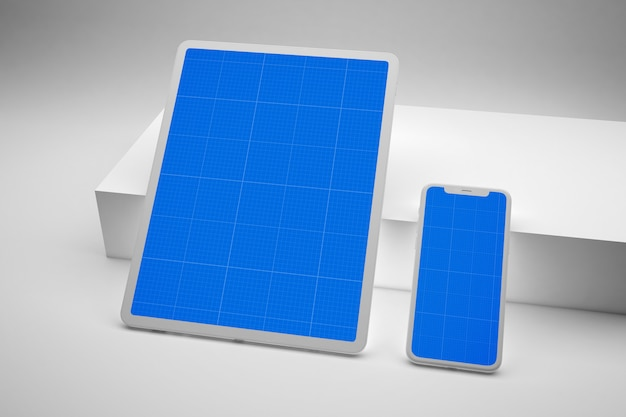 Smartphone and digital tablet with mockup screen