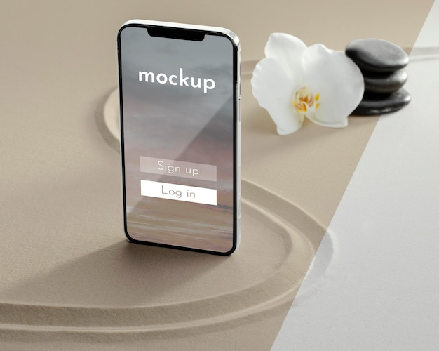 Smartphone display mock-up in sand