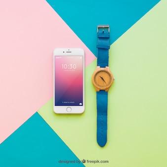 Smartphone display and watch mockup