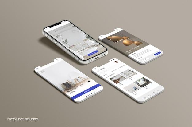 アプリ用スマートフォン画面モックアップ