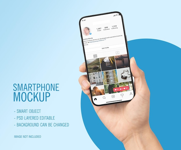 Smartphone on hand mockup