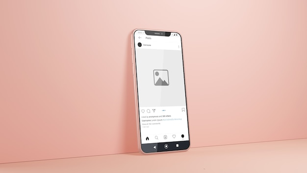 Smartphone instagram mockup isolated