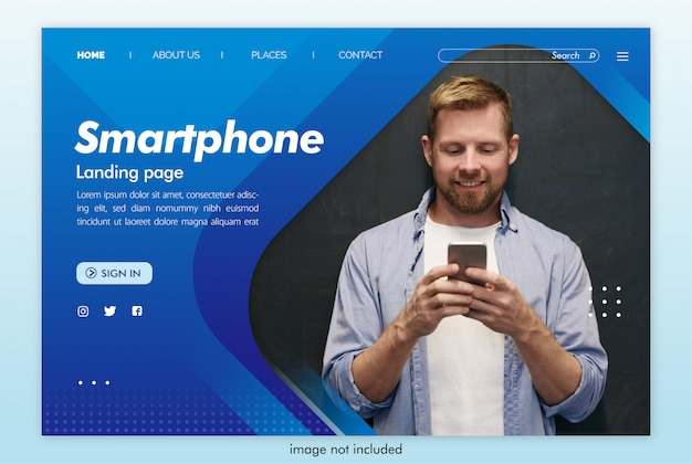 Smartphone landing page website with image template