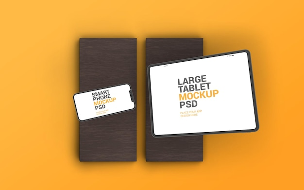 Smartphone and large tablet mockup