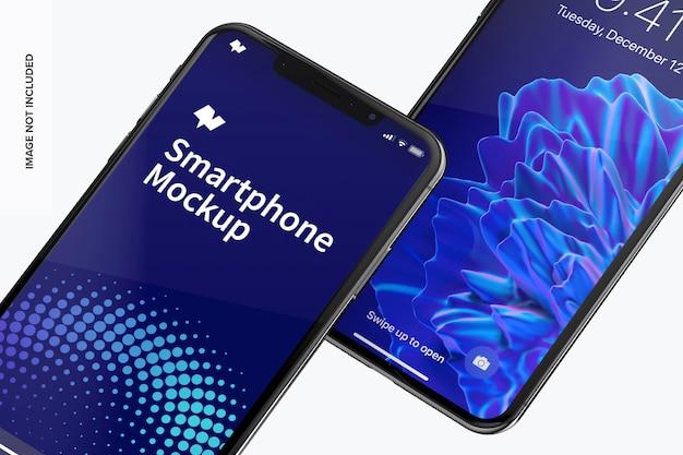 スマートフォン最大モックアップのクローズアップ