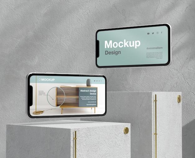 石と金属の要素を備えたスマートフォンのモックアップアレンジメント 無料 Psd