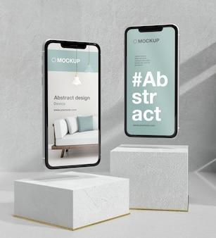 Smartphone mock-up arrangement with stone and metallic elements