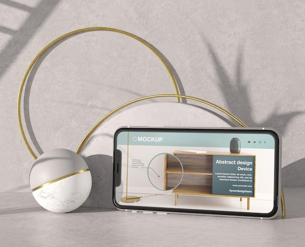 Smartphone mock-up presentation with stone and metallic elements