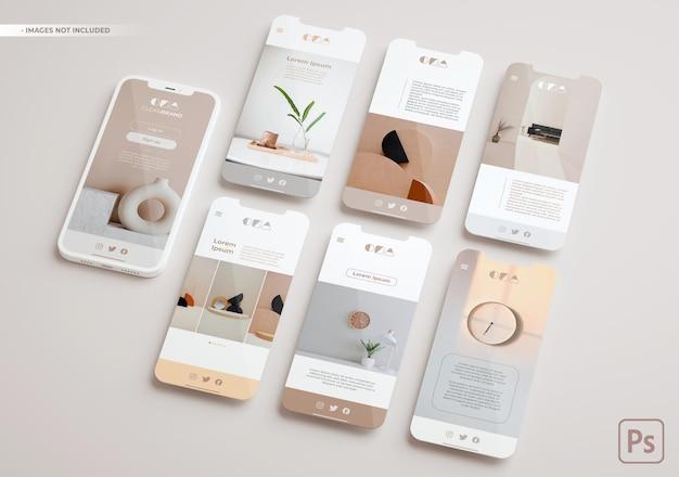 Макет смартфона и несколько экранов, плавающих в 3d-рендеринге. концепция приложения ui ux