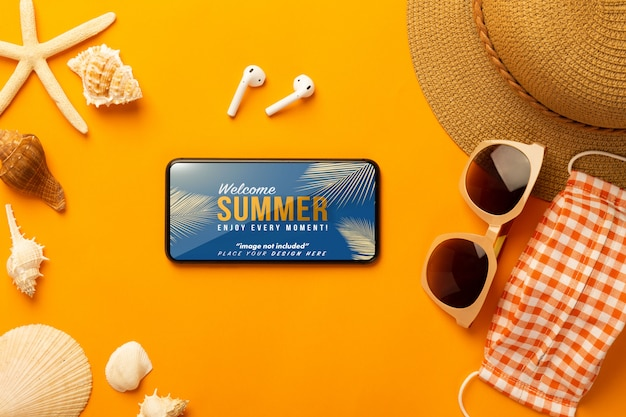 Smartphone mockup and beach accessories, mask