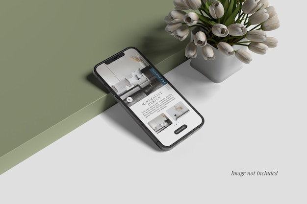 Smartphone mockup beside tulip