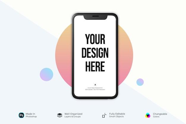 スマートフォンモックアップデザイン全画面正面図