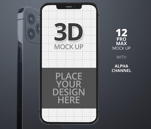 分離されたスマートフォンのモックアップデザインのレンダリング
