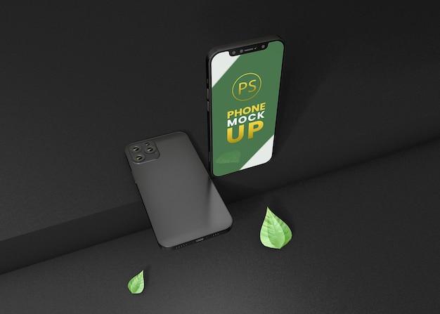 Дизайн макета смартфона с темным фоном
