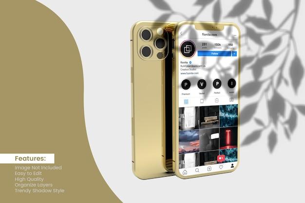 ソーシャルメディアの投稿とストーリーデザインを備えたスマートフォンのモックアップデザイン