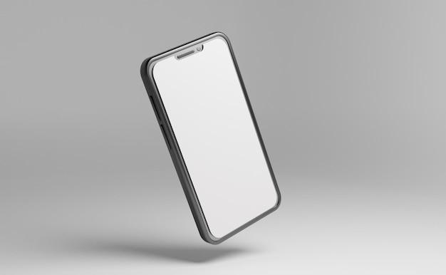빈 화면 psd 파일이 있는 전면 회전에서 스마트폰 모형