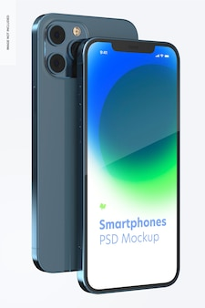 Smartphone mockup, front and back view