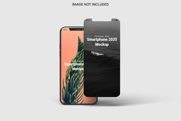 Smartphone mockup front view isolated