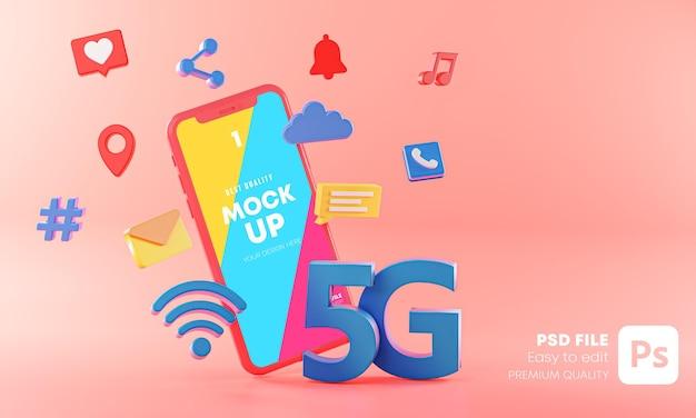 3dレンダリングの技術コンセプトを備えたスマートフォンモックアップホログラム Premium Psd