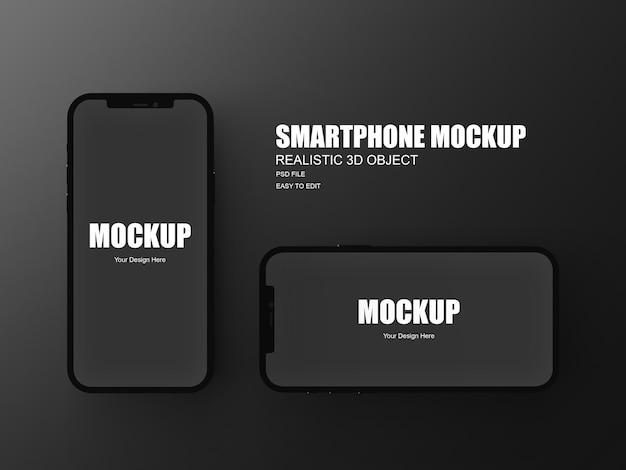 分離された3dレンダリングのスマートフォンモックアップ