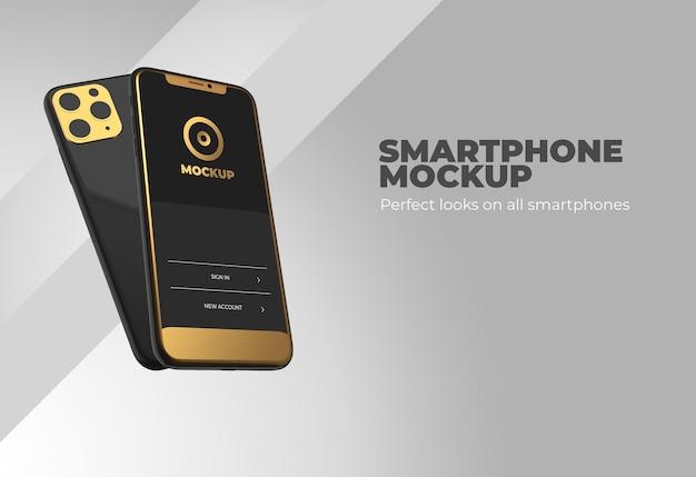 リアルな3dレンダリングでのスマートフォンのモックアップ