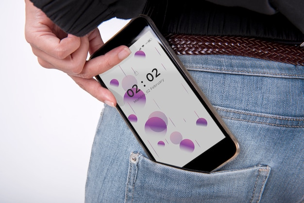 Smartphone mockup in the jeans pocket