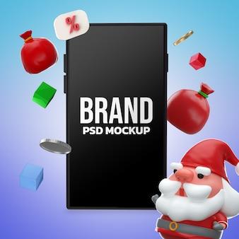 Smartphone mockup merry christmas design 3d rendering