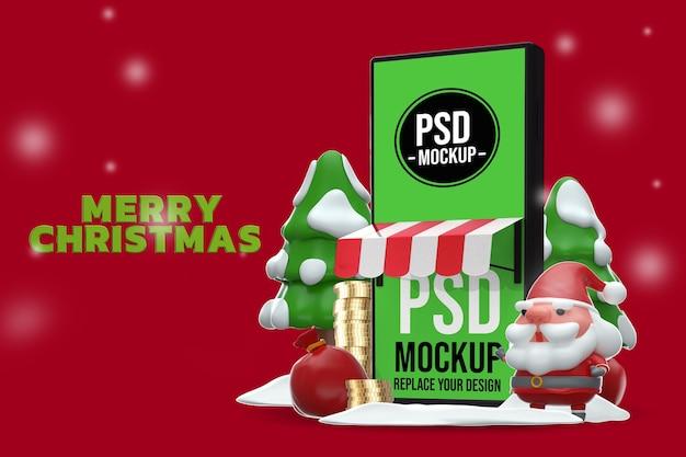 Смартфон mockup merry christmas design 3d rendering