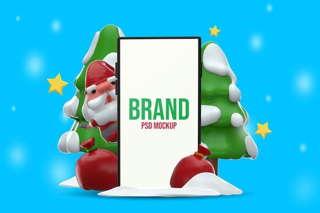 스마트 폰 모형 메리 크리스마스 디자인 3d 렌더링