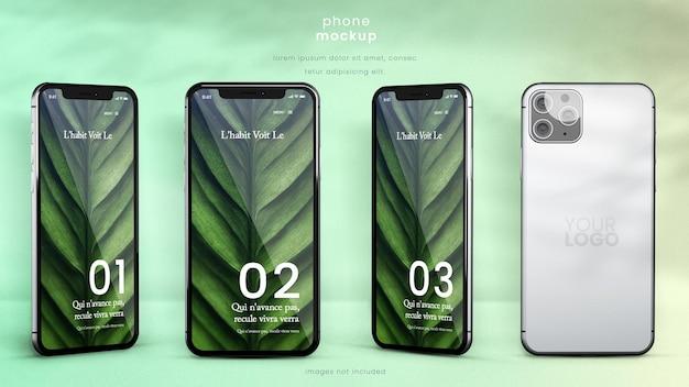 4 つの異なる角度から見たスマートフォンのモックアップ