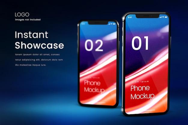진한 파란색 배경에 두 대의 스마트폰 모형