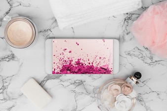 Smartphone mockup on marble texture
