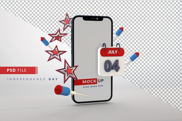 Smartphone mockup for usa independence day 4th july