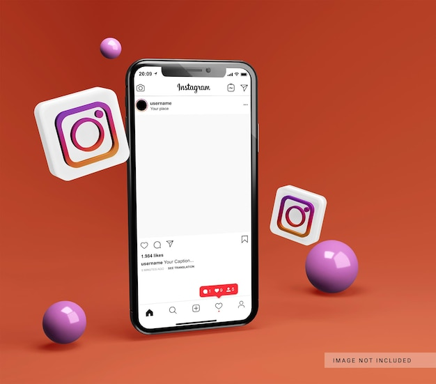 Smartphone mockup with 3d instagram icon