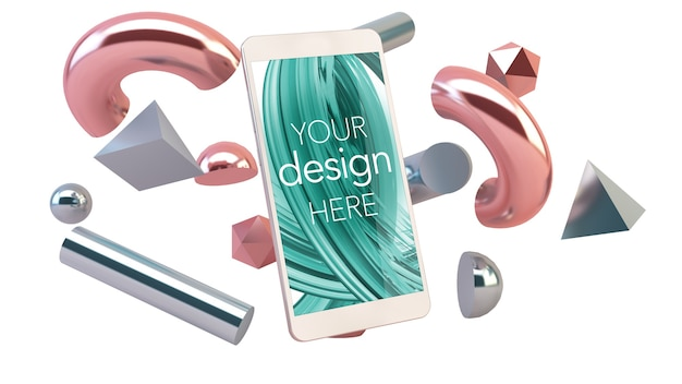 Smartphone mockup with 3d shapes abstract