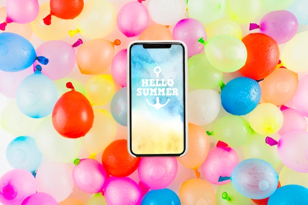 Smartphone mockup with balloons