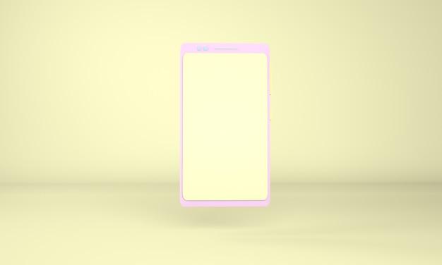3dレンダリングで空白の画面とスマートフォンのモックアップ