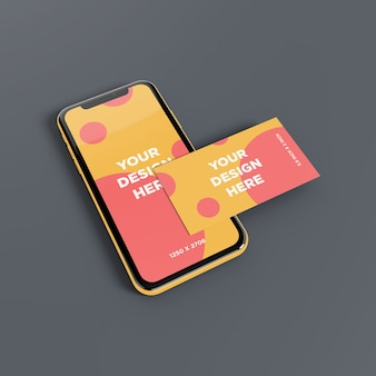 Smartphone mockup with business card perspective view