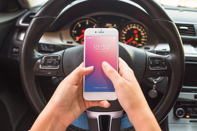 Smartphone mockup with car concept