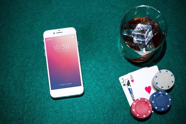 Smartphone mockup with casino concept