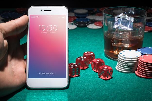 Smartphone mockup with casino concept