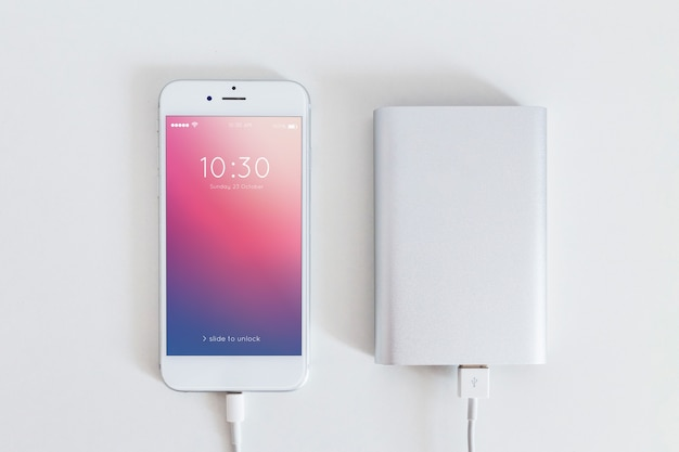 Smartphone mockup with charging cable