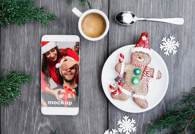Smartphone mockup with christmas concept