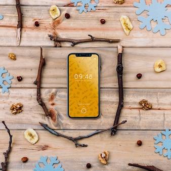 Smartphone mockup with christmas concept