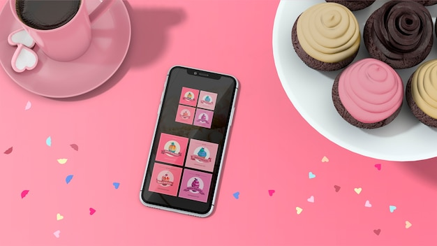 Smartphone mockup with cupcakes