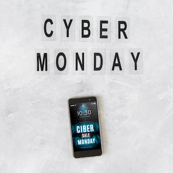 Smartphone mockup with cyber monday letters