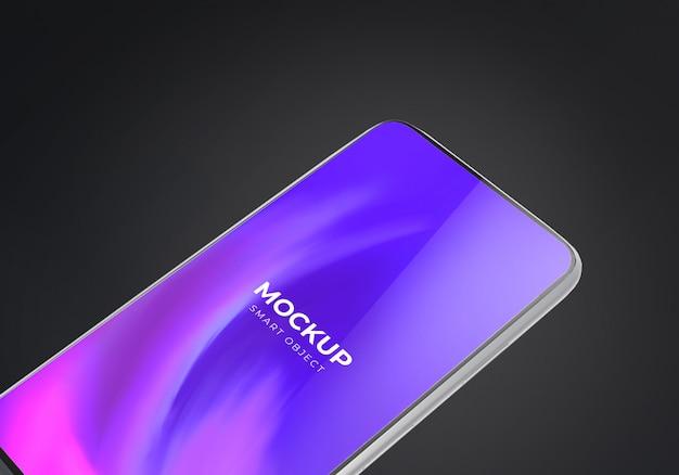 暗い背景を持つスマートフォンのモックアップ