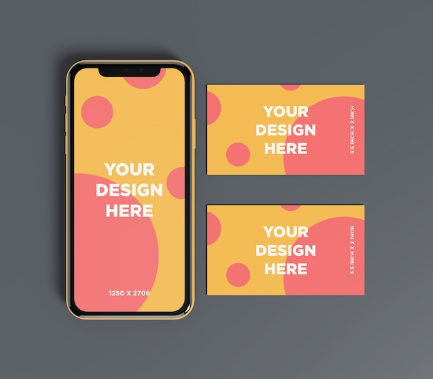 Smartphone mockup with double business card top view